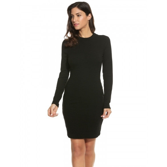 Women Fashion Mock Neck Long Sleeve Backless Slim Solid Rib Bodycon Pencil Dress