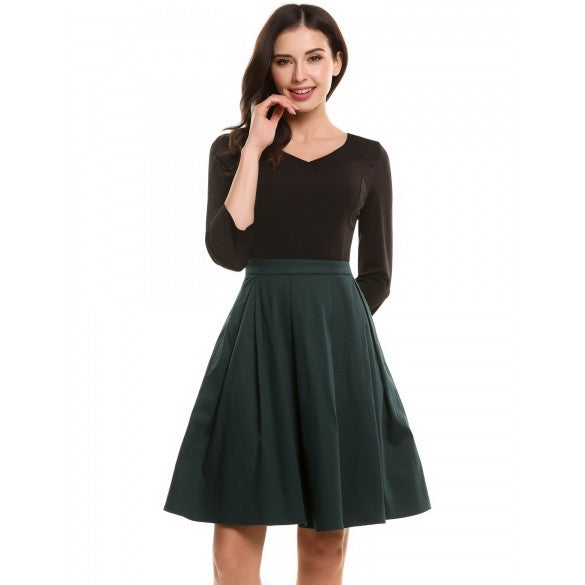 Women V-Neck 3/4 Sleeve Patchwork Cocktail Party Skater Dress