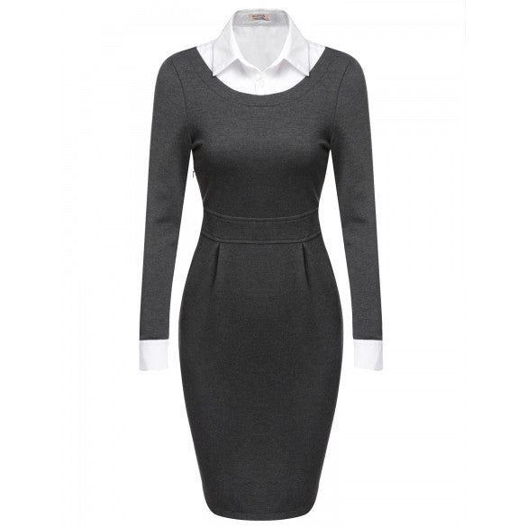 Women Turn Down Collar Long Sleeve Patchwork Bodycon Business Party Pencil Dress