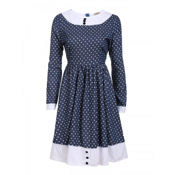 Women Vintage Style Round Neck Long Sleeve Print Patchwork Swing Dress