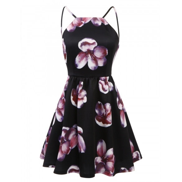 Women Casual Vintage Style Off Shoulder Spaghetti Strap Backless Floral Print Sexy Dress