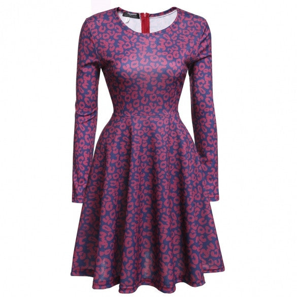 Women Long Sleeve Print Fit And Flare Cocktail Evening Swing Dress