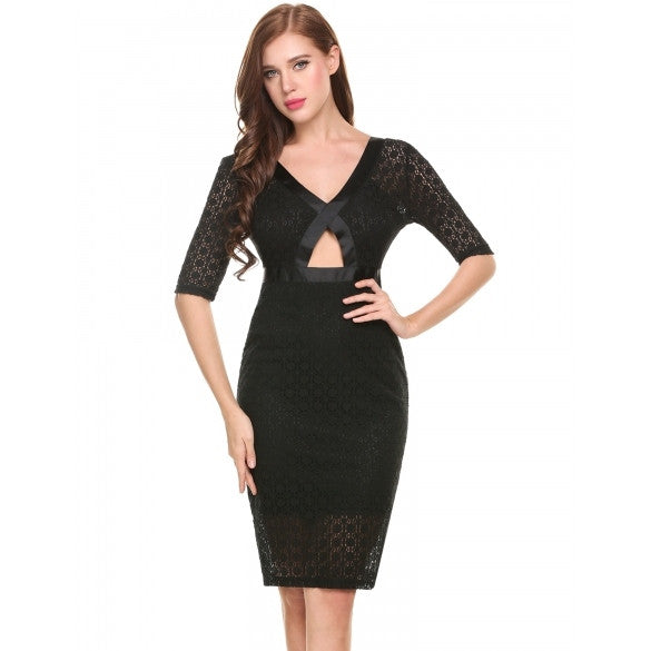 Women Casual Deep V Neck Half Sleeve Front Hollow Out Back Split Backless Lace Slim Dress With Lining