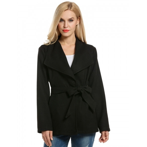 Women Wide Lapel Long Sleeve Single Button Belted Solid Wool Blend Coat