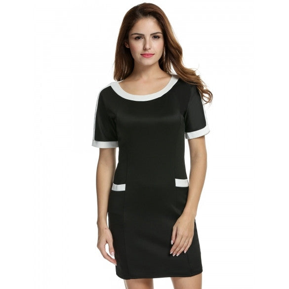 Women Short Sleeve Pencil Dress Bodycon Package Hip Slim Party Mini Dress
