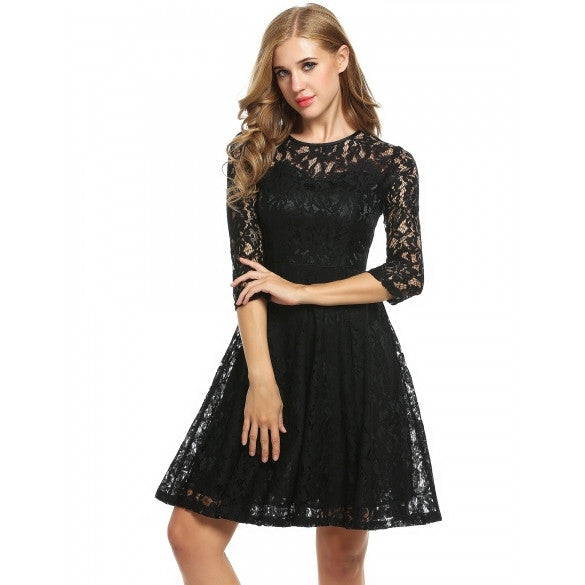 Women Round Neck 3/4 Sleeve Pleated Lace Slim Party Evening Cocktail Dress