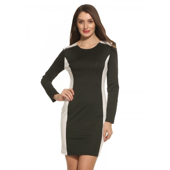 New Women O-Neck Long Sleeve Patchwork Zipper Hem Split Dress