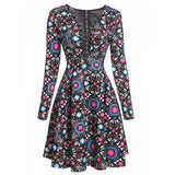 Women V-Neck Lace Up Long Sleeve Print Cocktail Party Skater Dress