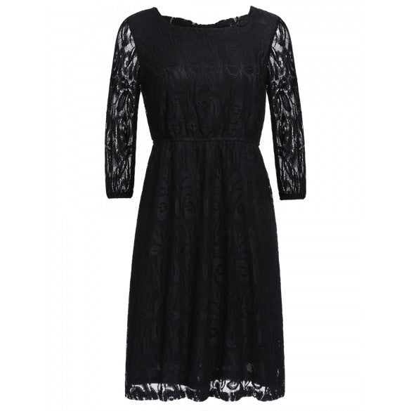 New Women Casual O-Neck Three Quarter Sleeve Lace Solid With Bow Plus Size Dress
