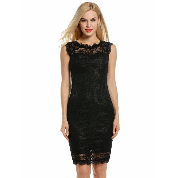 Women V-Neck Sleeveless Crochet Lace Cocktail Party Pencil Dress