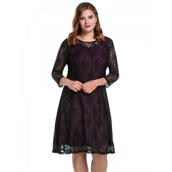 Women Plus Sizes Round Neck Long Sleeve Hollow Floral Lace Short Dress