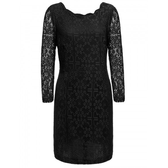 New Plus Size Fashion Hollow Out Women Casual Round Neck Long Sleeve Lace Dress