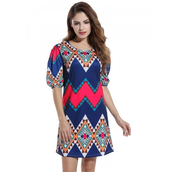Women Puff Sleeve Geometric Print Casual Loose Shift Mini Dress