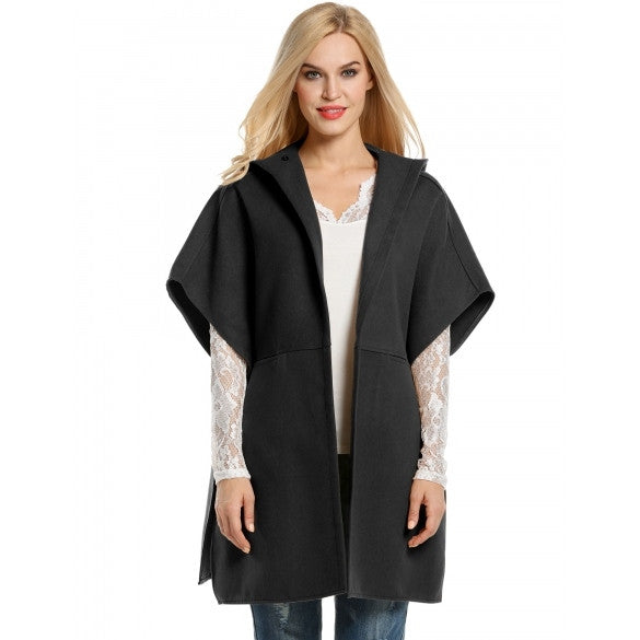Women Half Sleeve Hooded Open Front Poncho Cape Wool Blend Coat
