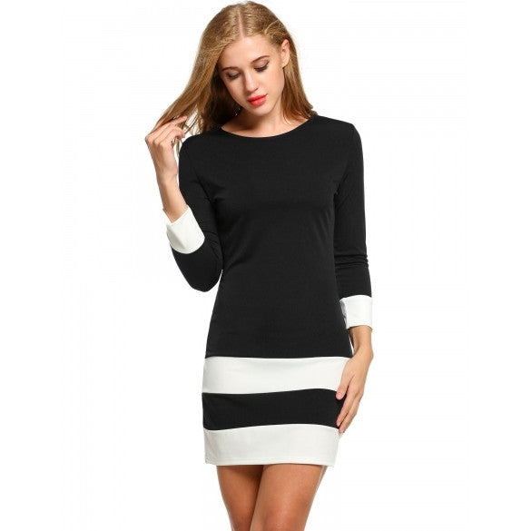 Women Casual 3/4 Sleeve Patchwork O Neck Pullover Color Block Dress