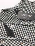 New Women Turn-down Collar Colorblock Career Plaid Patchwork Tunic Dress