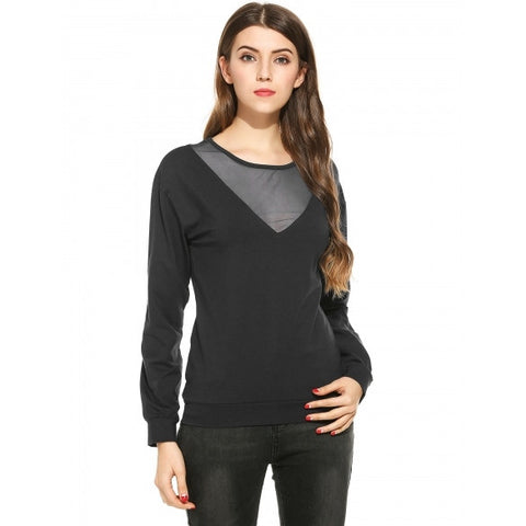 New Women Casual O-Neck Long Sleeve Pullover Mesh Patchwork Top T-Shirt