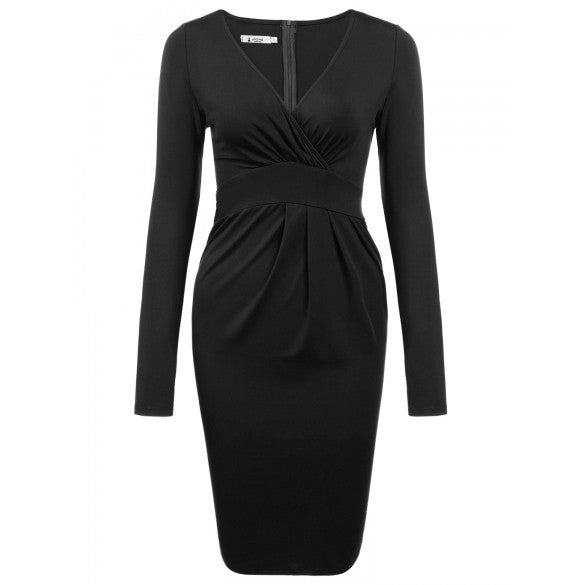 New Women Sexy V-Neck Long Sleeve Solid Pleated Party Dress