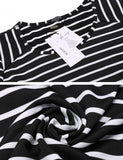 Women Casual Loose Asymmetrical Patchwork Tunic Tops O Neck Striped Dress