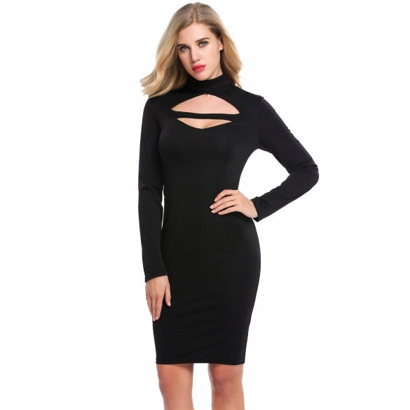 Women Sexy Keyhole Long Sleeve Backless Bodycon Pencil Dress