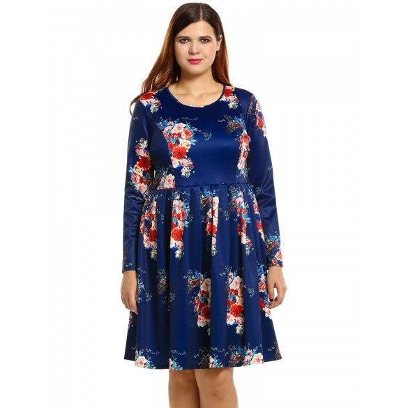 New Women Plus Size Casual O-Neck Long Sleeve Floral Print Dress