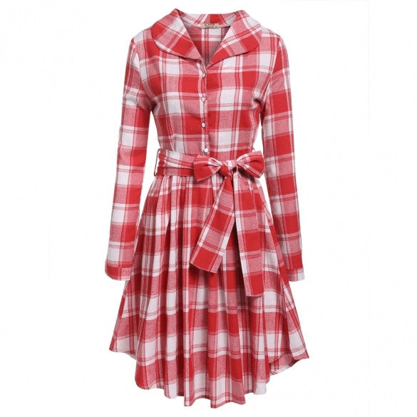 Women Turn Down Collar Long Sleeve Half Button Plaid Slim Pleated Shirt Dress W/ Belt