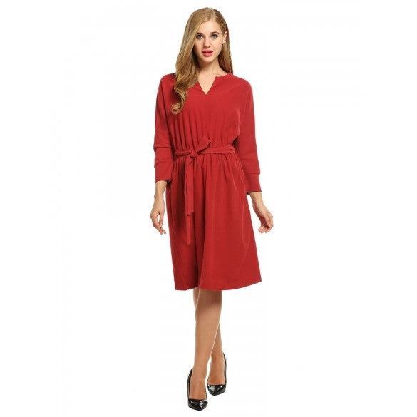 Women Fashion Retro Notch Neck Batwing Long Sleeve Solid A-Line Short Dress