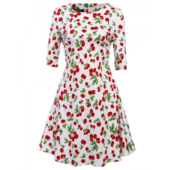 Women's Half Sleeve Floral Print Fit And Flare Party Cocktail Swing Tea Dress