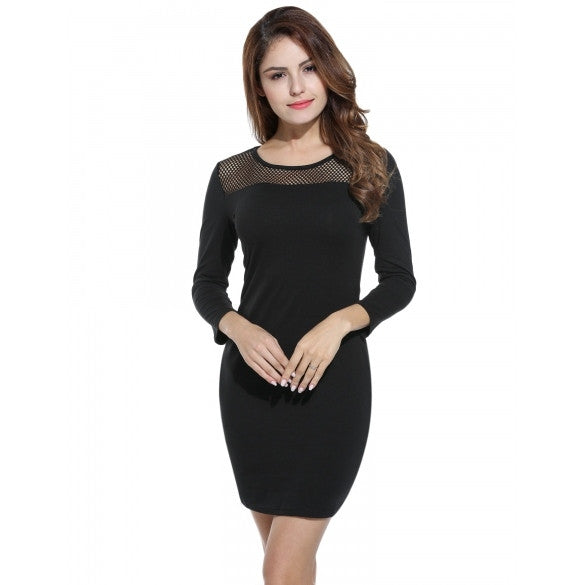 Women Fashion Long Sleeve Hollow Slim Pencil Short Dress
