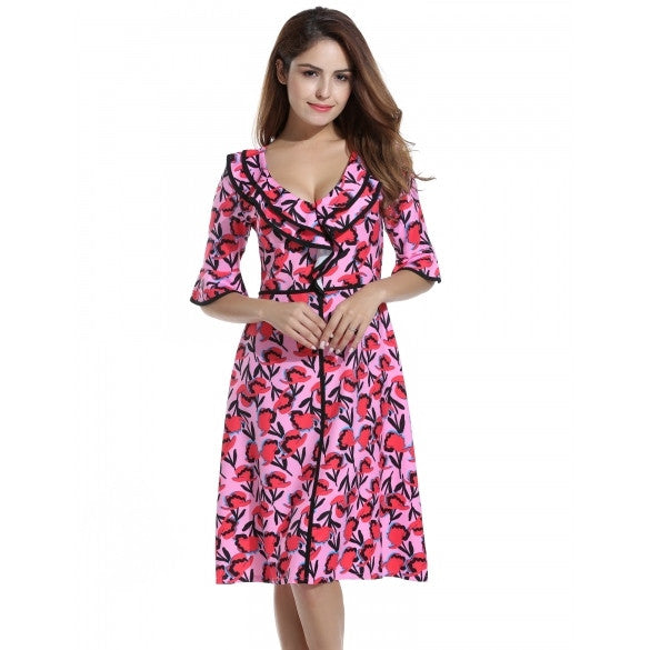 Women Ruffles Deep V-Neck Fit & Flare Vintage Style Printed A-Line Dress
