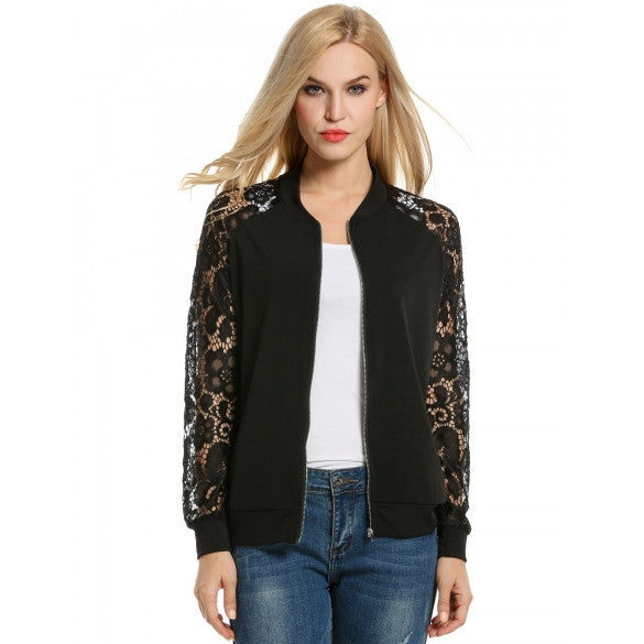 Women Casual Lace Patchwork Zip-Up Short Slim Fit Bomber Jacket