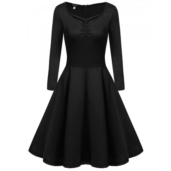 Women's Long Sleeve Solid Vintage Swing Tea Dresses Square Collar Bust Ruched Dresses