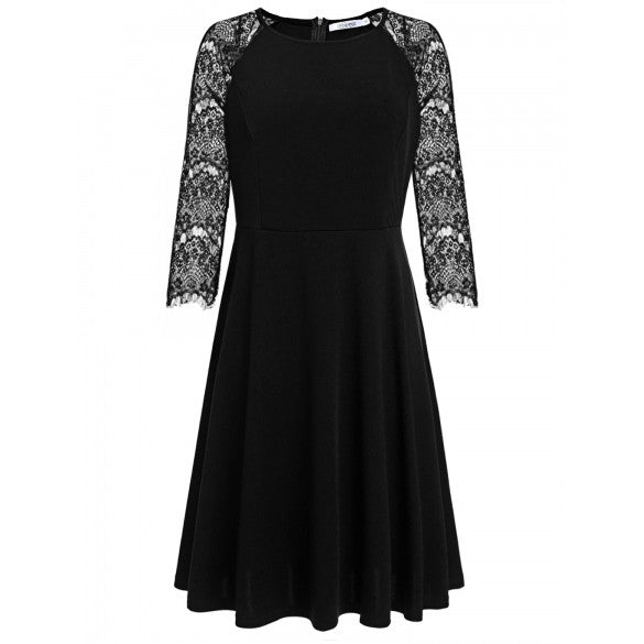New Women Casual O-Neck Lace Patchwork Three Quarter Sleeve Plus Size Dress