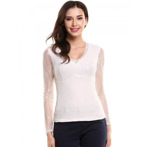 Women Casual Long Sleeve V Neck Patchwork Slim Pullover Lace Blouse