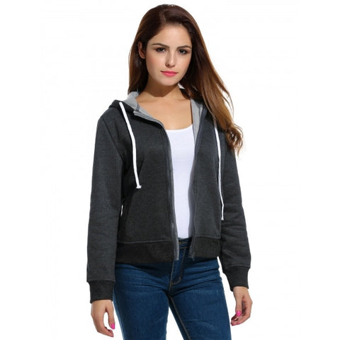 Active Casual Hooded Full Zip Solid Hoodie Sweatshirt With Pockets