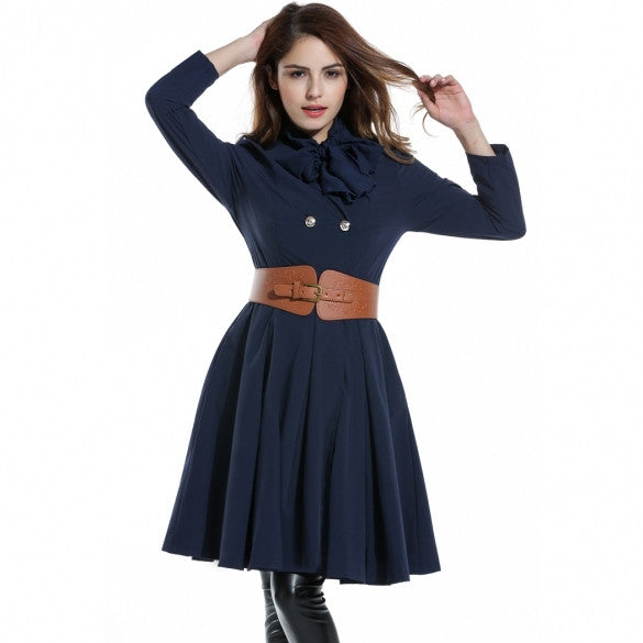 Women Turn Down Collar Double-breasted Pleated Swing Trench Coat With Belt