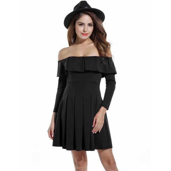 Women Off Shoulder Ruffles Long Sleeve Cocktail Party Pleated Dress