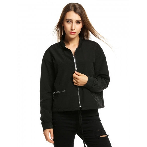 Stand Collar Long Sleeve Casual Solid Zip Up Short Jacket