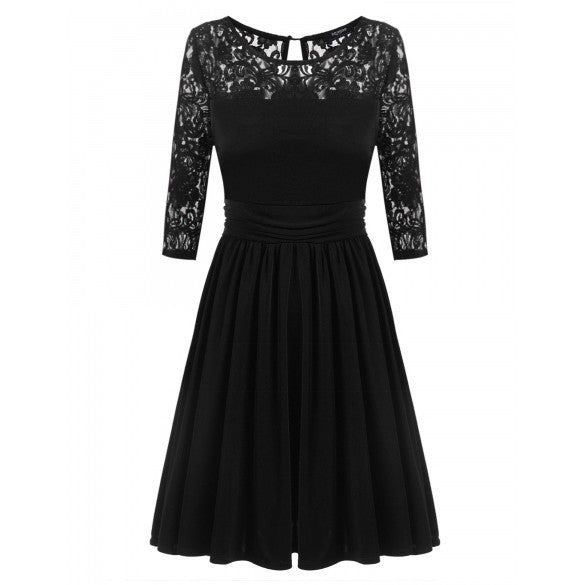 Women Lace Crochet 3/4 Sleeve Slim Cocktail Party Pleated Dress