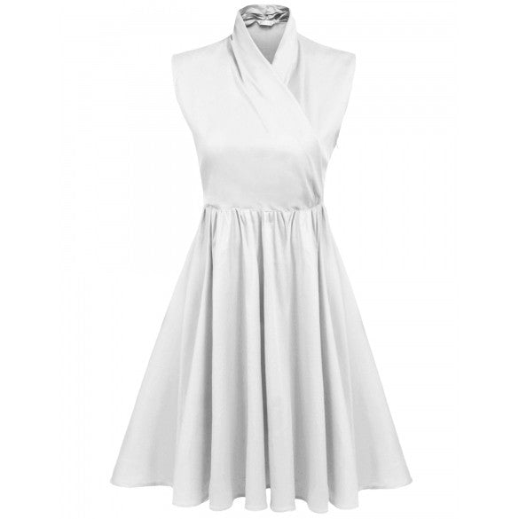 Women Casual Sleeveless Solid Stand Collar Pullover Party Elegant Cocktail Dress