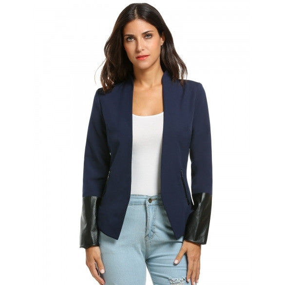 Collarless Long Sleeve Synthetic Leather Patchwork Blazer Jacket With Zip Pockets