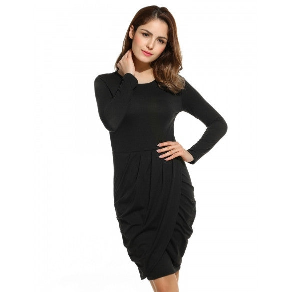 New Women Casual O-Neck Long Sleeve Solid Cross Pleated Package Hip Dress