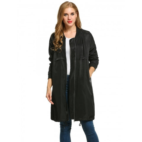 Casual Stand Collar Long Sleeve Solid Mid-Long Coat Jacket
