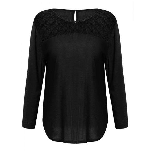 3/4 Sleeve Crochet Lace Side Slit Loose Blouse Tops