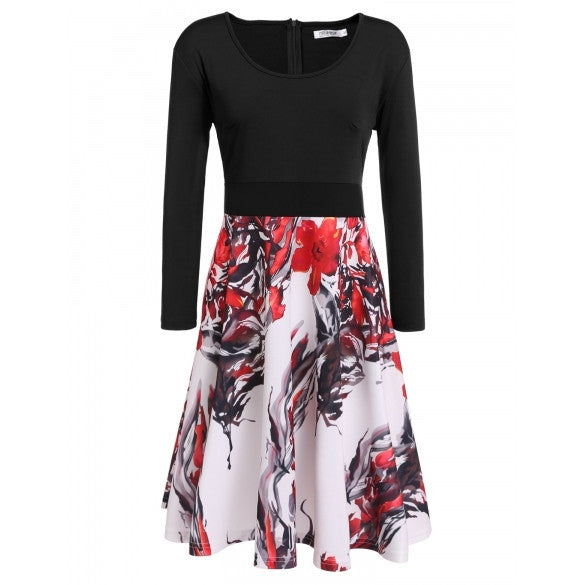 New Women Casual O-Neck Long Sleeve Prints Patchwork Plus Size Dress