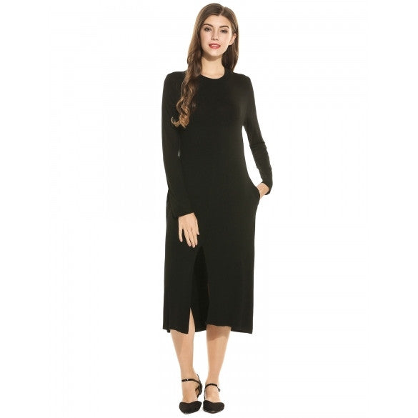 Women Fashion Stand Collar Long Sleeve Solid Front Slit Midi Dress