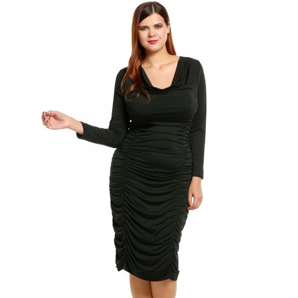 Plus Sizes Sexy Cowl Neck Long Sleeve Solid Draped Bodycon Pencil Midi Dress