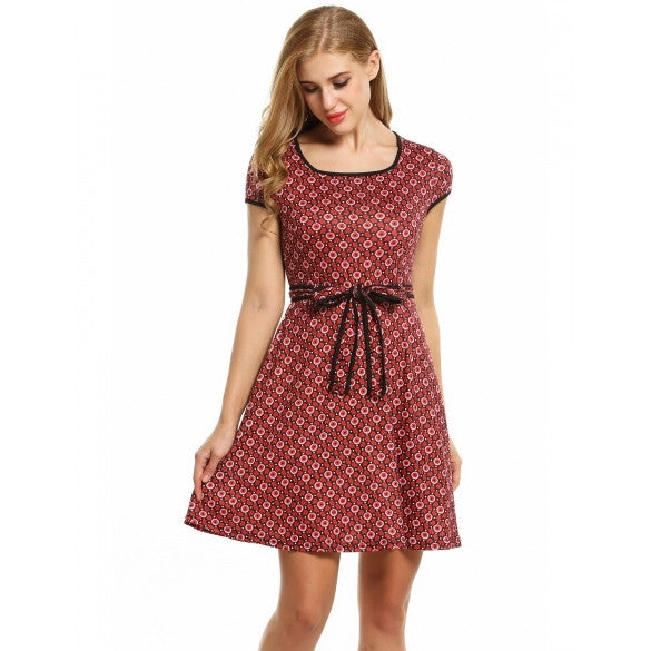 Women Cap Sleeve Vintage Style Floral Print Pleated Mini Dress With Belt