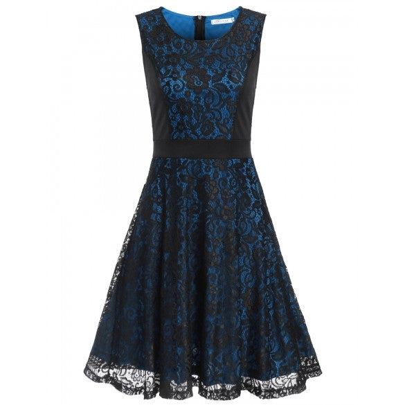 New Women Casual O-Neck Sleeveless Floral Lace Patchwork Contrast Color Slim A-Line Pleated Hem Tank Dress With Lining