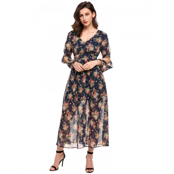 Women V-Neck Long Sleeve High Waist Floral Chiffon Maxi Dress